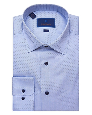 David Donahue Tonal Dobby Trim Fit Dress Shirt-Men