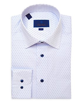 David Donahue - Micro Dot Trim Fit Dress Shirt