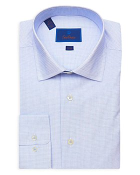 David Donahue - Micro Check Trim Fit Dress Shirt