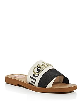Chloé - Women's Woody Embroidered Logo Slide Sandals