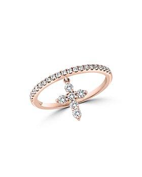 Bloomingdale's - Diamond Cross Dangle Cross Ring in 14K Rose Gold, 0.35 ct. t.w. - 100% Exclusive