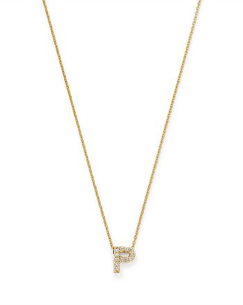 Roberto Coin - 18K Yellow Gold Tiny Treasure Diamond Initial P Love Letter Pendant Necklace, 16-18""