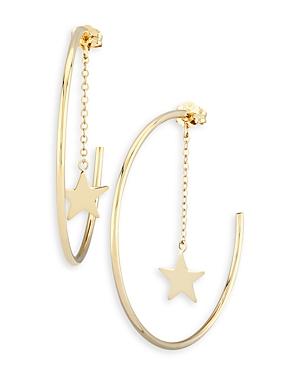 Moon & Meadow 14K Yellow Gold Dangle Star Hoop Earrings