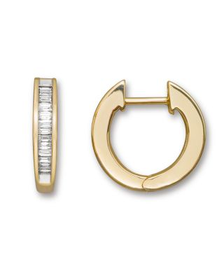 Channel Set Diamond Hoop Earrings In 14 Kt. Yellow Gold, 0.25 Ct. T.W. - 100% Exclusive