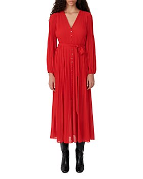 Maje - Rochi Pleated Maxi Dress with Belt