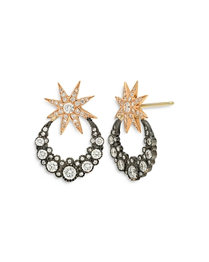 18K Yellow Gold Galaxia Diamond & Mother-of-Pearl Orbiting Moon Drop Earrings