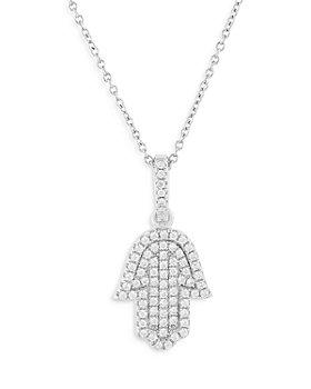 Bloomingdale's - Diamond Hamsa Pendant Necklace in 14K White Gold, 0.30 ct. t.w. - 100% Exclusive