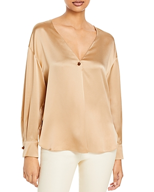 Vince Button V Neck Silk Top-Women