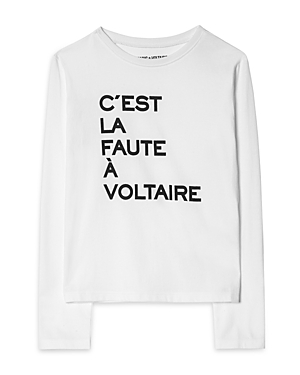 Zadig & Voltaire Girls\\\' Shelah Cotton Long Sleeve Graphic Tee - Little Kid, Big Kid-Kids