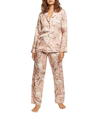 Washable Printed Silk-Blend Long Pajama Set