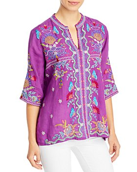 Johnny Was - Arzella Embroidered Easy V-Neck Peasant Top