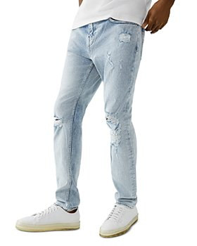 True Religion - Rocco No Flap Skinny Fit Jeans in Crest Blue Worn