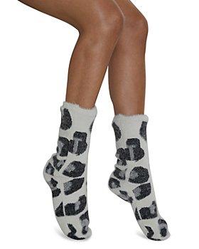 Cejoli - Snow Leopard Faux Fur Slipper Socks
