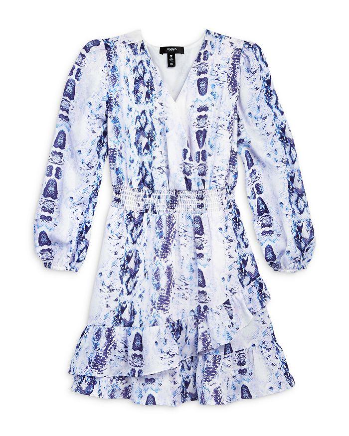 AQUA - Girls' Snake Print Peasant Dress, Big Kid - 100% Exclusive