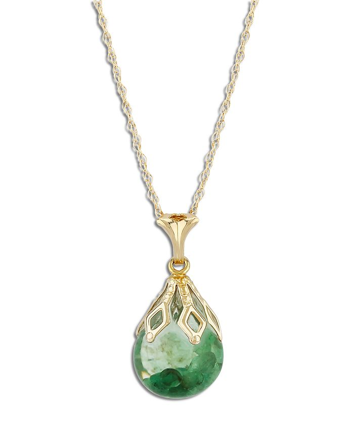 """Bloomingdale's - Floating Emerald Pendant Necklace in 14K Yellow Gold, 18"""" - 100% Exclusive"""