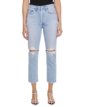 Agolde Riley Straight Cropped Jeans in Clear Skies