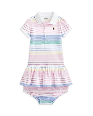 Ralph Lauren GIRLS' COTTON STRIPED POLO DRESS AND BLOOMERS SET - BABY