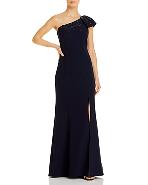 One Shoulder Beaded Bow Column Gown