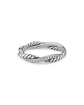 David Yurman - Sterling Silver Petite Infinity Twisted Ring with Diamonds