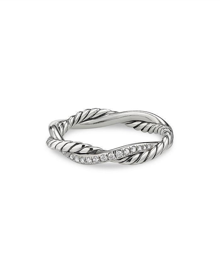 David Yurman - Sterling Silver Petite Infinity Twisted Ring with Diamonds