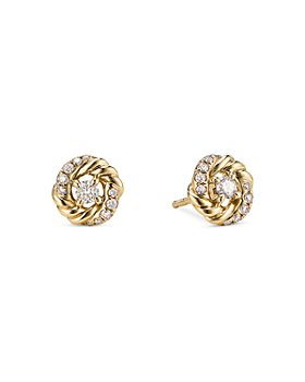 David Yurman - 18K Yellow Gold Petite Infinity Stud Earrings with Diamonds