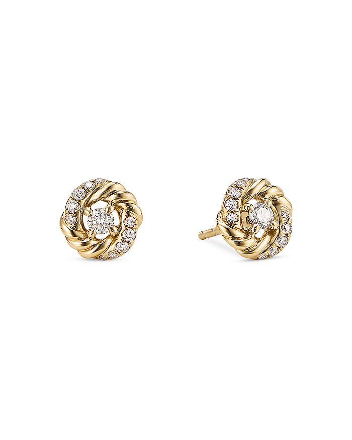 David Yurman - 18K Yellow Gold Petite Infinity Stud Earrings with Diamonds
