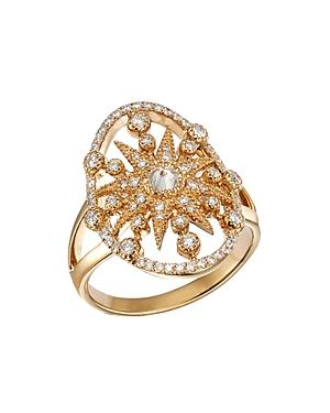 Galaxia 18K Yellow Gold and Diamond Star Shield Ring