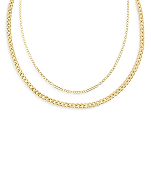 Adinas Jewels DOUBLE CURB CHAIN NECKLACE, 14 AND 16