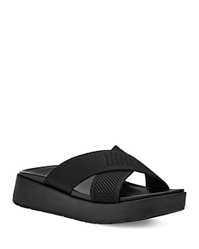UGG® - Women's Emily Square Toe Logo & Mesh Crisscross Slide Sandals