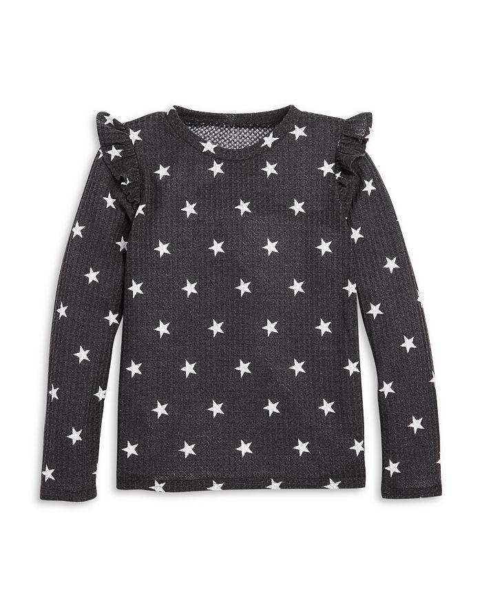 AQUA - Girls' Ruffled Long Sleeve Waffle Knit Top, Big Kid - 100% Exclusive