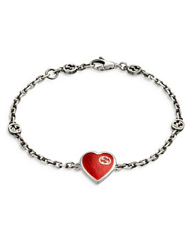 Gucci - Sterling Silver & Enamel Heart Chain Bracelet