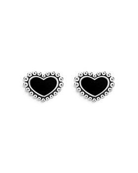 LAGOS - Sterling Silver Maya Onyx Heart Stud Earrings
