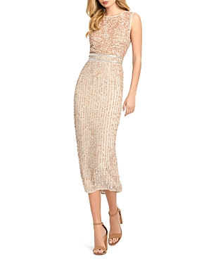 Mac Duggal Sequined Midi Dress-Women