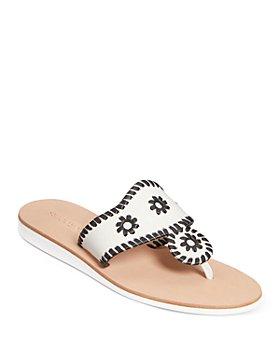 Jack Rogers - Women's Boating Jacks Floral Detail Leather Slide Sandals