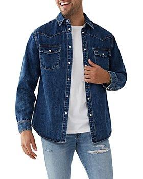 True Religion - Cotton Blend Denim Button Down Western Shirt