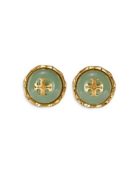 Tory Burch - Roxanne Swirled Mint Logo Circle Stud Earrings in Gold Tone