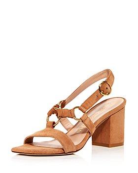 Stuart Weitzman - Women's Lalita Square Toe Suede Slingback Sandals