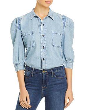 Frame Chambray Rosette Sleeve Shirt