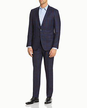 BOSS - Huge/Genius Plaid Slim Fit Suit