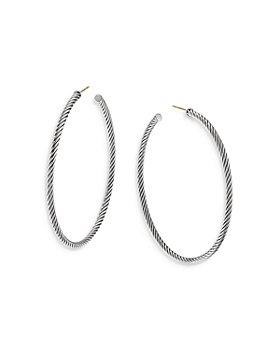David Yurman - Sculpted Cable Sterling Silver Hoop Earrings
