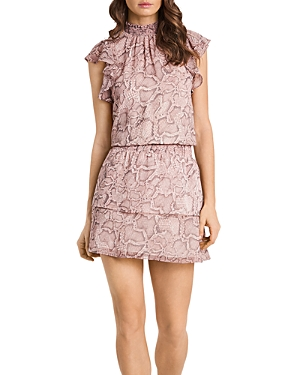 1.state Mock Neck Flutter Mini Dress
