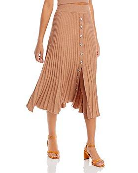 Bardot - Ribbed Button Front Midi Skirt