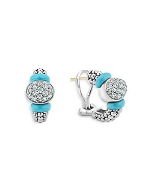 Lagos Blue Caviar & Diamond Sterling Silver Hoop Earrings