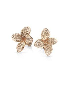 Pasquale Bruni - 18K Rose Gold Petit Garden White & Champagne Diamond Floral Stud Earrings
