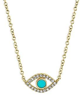 "Moon & Meadow - 14K Yellow Gold Turquoise & Diamond Eye Pendant Necklace, 18"" - 100% Exclusive"