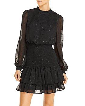 AQUA - Ruffle Long Sleeve Smocked Mini Dress - 100% Exclusive