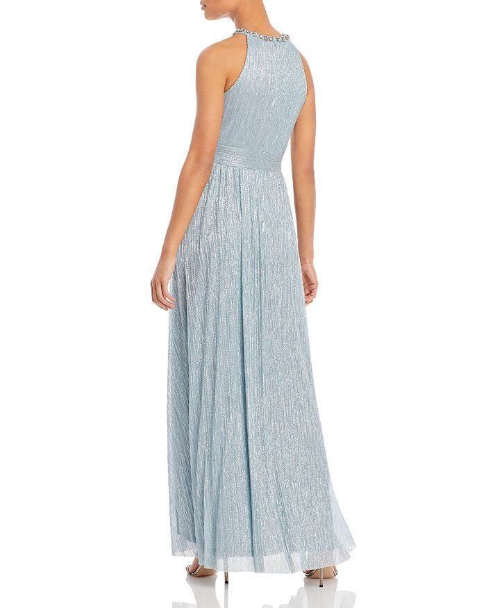 ELIZA J Gowns SHIMMERING CUTOUT HALTER GOWN