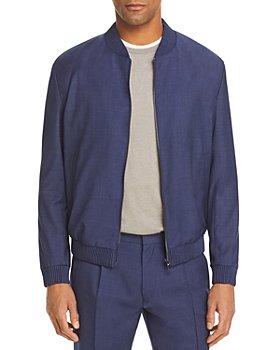 HUGO - Micro Weave Wool Blend Bomber Jacket