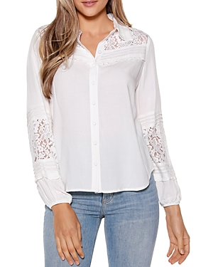 Belldini LACE INSET BUTTON DOWN SHIRT