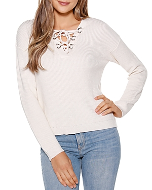 Lace Up V-Neck Pullover Sweater